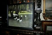Antique Ducks In Park Landscape By Well Listed American Artist Carl Funseth