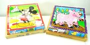 Melissa And Doug Wood Cube Puzzle Lot Disney Mickey Mouse And Clubhouse Farm Animals