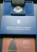 2020 P Mayflower 400th Anniversary Silver Reverse Proof Medal W/ Coa And Boxes