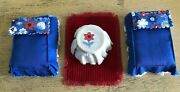 Vintage Dollhouse Beds Nightstand Rug Lot Red White Blue Handmade