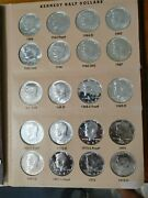 1964-1991 P,d,s Kennedy Half Dollar Set In Dansco Album 76 Coins Proof And Silver