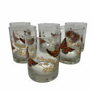 Couroc 6 Drinking Glass Monarch Butterfly Double Old Fashioned High Rocks