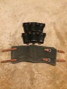 Wwii German K98 Leather Ammo Pouch Set - Set Of Two 2 And Canvas Legging