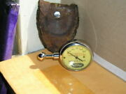 Extra Nice Vintage Us Model A Ford Tire Gauge Antique Leather Pouch Display Tool
