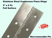 Stainless Steel Continuous Piano Hinge 3 X 6 Ft. Full Surface Non-removable Pin