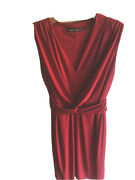 Reflections Red Twist Ruche Knot Knee Length Fitted Evening Dress Sz M/12uk