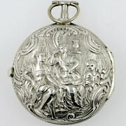 Antique Pocket Watch - Silver Repousse Pair Cased Verge By George Lindsay, C1750