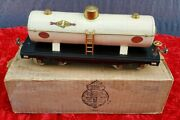 1930and039s Lionel 215 Sunoco Ivory White Tank Car Brass Trimmed Original Box 1932