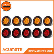 10pc 2 Round 9 Led Amber+red Side Marker Clearance Light Kit/grommet/wire Plug