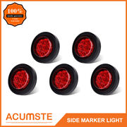 5pc Red 2 Round 9 Led Side Marker Clearance Light Kit / Grommet / Wire Plug
