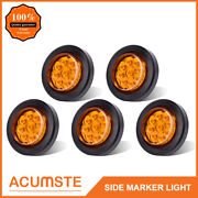 5pc Amber 2 Round 9 Led Side Marker Clearance Light Kit / Grommet / Wire Plug