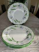 Jilly Walsh Mariposa Made In Italy Floral Dinner Plates Set Of 4 Hand Painted P