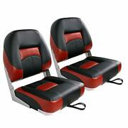 Leader Accessories Low Back Folding Fishing Boat Seat Black/red2 Seats