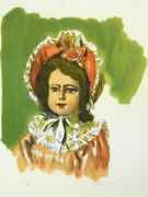 Takanosuke Tamura French Dolls Lithograph With Autograph Person Of Cultural