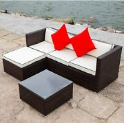 Outdoor Patio Furniture Set Wicker Durable Seater Sofa Stool Glass Table Pillows
