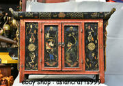 32 Old Chinese Wood Lacquerware Carving Figures Cupboard Cabinet Furniture
