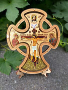 Greek Russian Orthodox Handmade Wooden Wall Cross Lithography Icon Crucifix