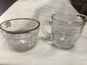 Waterford Crystal With Gold Trim Creamer And Sugar Mark On Bottom