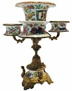 An Antique 19th C. Bronze Epergne With Famille Rose Medallion Porcelain Vessels