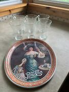 Vintage 1973 Pepsi 75 Year Anniversary Set 6 Etched Glasses And Tray Brand New