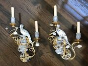 Banci Florence Italy Gold Gilt Sconces Crystal Parrot Floral Design Pair