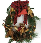 Door Wreath Cottage Cabin Christmas Carved Bears Pinecones Farmhouse Rustic 20