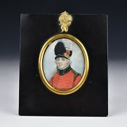 Rare English Miniature Portrait Painting Red Coat Military Officer W/ Plume Hat