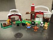 Little People Farm Lot Hay Stackin Stable, Mini Barn, 6 Figures, Tractor +