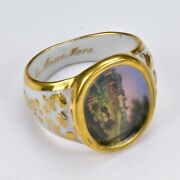 Rare Gotha Porcelain Napkin Ring Finely Hand Painted Early 19th Century