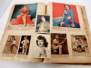 Vintage Scrapbook 1940and039s Clippings Pinups Cowboys Hollywood Wwii 50 Pages 15x11