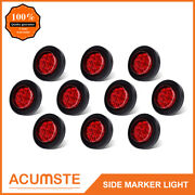 10pc Red 2 Round 9 Led Side Marker Clearance Light Kit / Grommet / Wire Plug