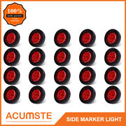 20pc Red 2 Round 9 Led Side Marker Clearance Light Kit / Grommet / Wire Plug