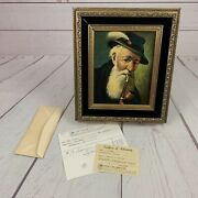 Hj Topman Tyrolean Man With Pipe Oil Painting Certificate Of Authenticity German