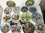 Lot Of 14 Disney Limited Edition Christmas Collector Plates - 1975 To 2005 Ac