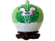 Chinese Melon Jar Cabbage Butterfly Famille Verte Ginger Jar Tongzhi 1880s