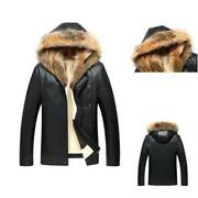 Winter Mens Real Leather Hooded Biker Jackets Slim Fit Business Furry Lined L