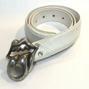 Chrome Hearts Rolling Stones Lip Andtan Belt White / Silver
