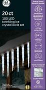 Ge 20-count 100 Led Twinkling Ice Crystal Icicle Set Crystal White - Pack Of 4.