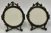 A 19th C Nicely Carved Pair Of Adirondack Black Forest Round Walnut Photo Frames