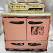Vintage 1950s Marx Pink Pretty Maid Metal Tin Toy Kitchen Oven Stove Nice