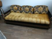 Pair Spanish Revival Sofas 1920and039s Carved Spindles Boho Gypsy Neoclassic Mcm