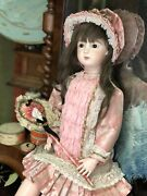 """23"""" Artist Antique Reproduction Doll French Triste Long Face Jumeau W/outfit,wig"""