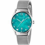 Ya1264039 Turquiose Mother Of Pearl Dial House Motifs Mesh Strap Watch