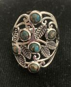 Copper Blue Turquoise 925 Sterling Silver Ring Jewelry Size 8