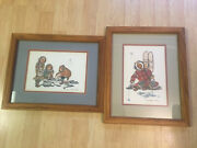 2 Vintage Anna Huong Signed Dated Lithograph Prints Ice Fishing Eskimo Women