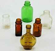 Lot Of 6 Vintage Mini Medicine Perfume Bottles Great Variety Shapes Colors Sizes