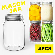 4 Pack Glass Regular Mouth Mason Jars 32oz With Metal Airtight Lids Containers