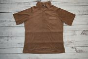 Vtg 60s 70s Terry Cloth Shirt Mid Century Surf Beach Brown Mens Large Jcpenney