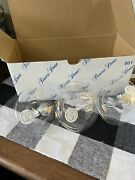 Princess House Crystal Floating Oil Lamps Lot Of 3 New In Box
