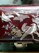 Vtg Asian Oriental Abalone Inlay Flying Cranes Lacquer Jewelry Music Box